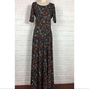 NWT LULAROE Ana Maxi Dress Fall floral print L